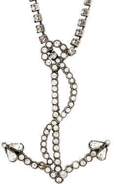 Balenciaga Balenciaga Crystal Anchor Pendant Necklace