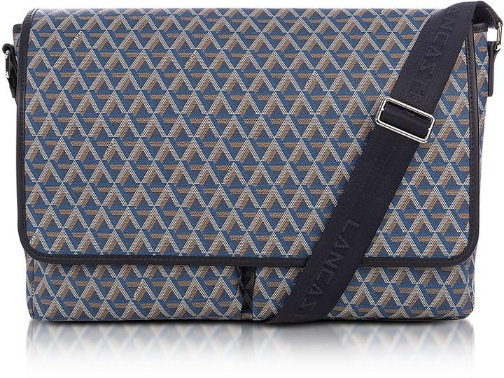 Lancaster Paris Ikon Blue Coated Canvas Men's Messenger Bag