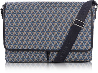 Ikon Lancaster Paris Blue Coated Canvas Men's Messenger Bag