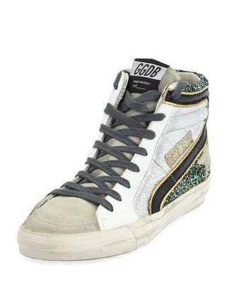 Golden Goose Slide High-Top Glitter & Leather Sneakers