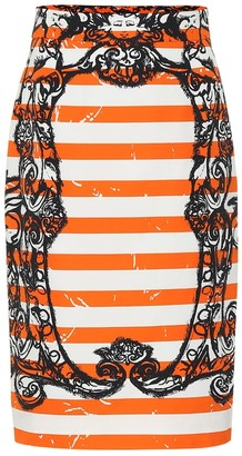 Prada Striped cotton pencil skirt