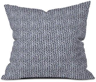 Deny Designs Little Arrow Design Co Arcadia Watercolor Herringbone in Indigo Throw Pillow