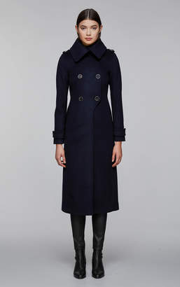 Mackage Elodie Double Buttoned, Tailored Flat Wool Coat