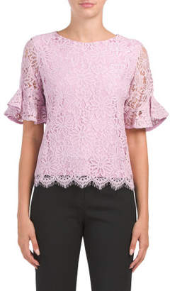 Ruffle Sleeve Lace Top