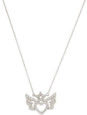 18K Diamond Winged Heart Pendant Necklace
