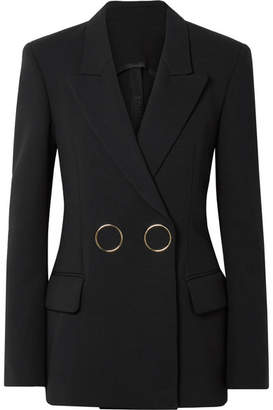 Petar Petrov Double-breasted Wool-crepe Blazer - Black