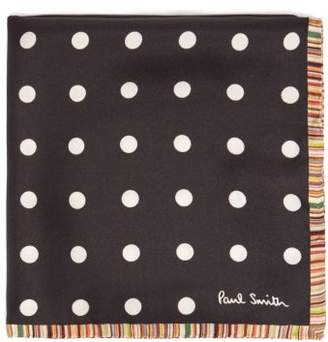 Paul Smith Stripe Edged Polka Dot Silk Pocket Square - Mens - Multi