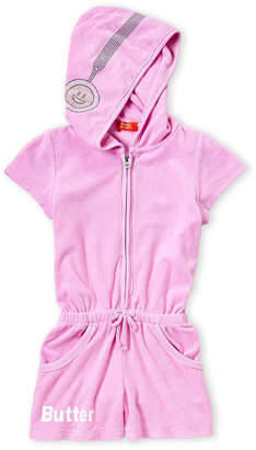 0083e1db75e Butter Shoes Girls 4-6x) Lavender Terry Hooded Romper