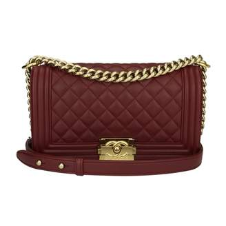 Chanel Boy Burgundy Leather Handbag