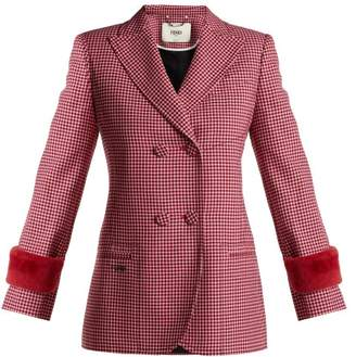 Fendi Shearling Trimmed Wool Jacket - Womens - Red Multi