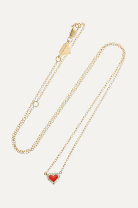 Alison Lou Heart 14-karat Gold, Enamel And Diamond Necklace