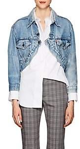 R 13 Women's Repurposed Levi's® Crop Trucker Jacket-Blue