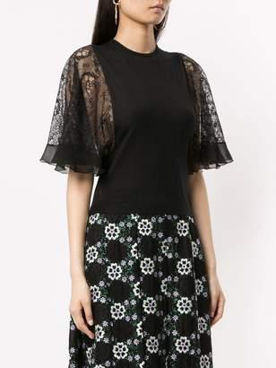 Giambattista Valli lace sleeve knitted top