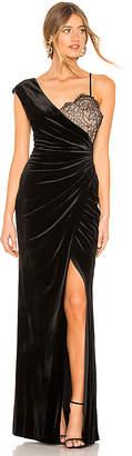 BCBGMAXAZRIA Asymmetric Lace Gown