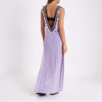 River Island Womens Light purple tassel cut out maxi beach dress