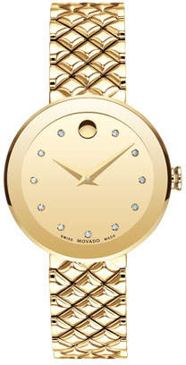 Movado 30mm Sapphire Diamond Bracelet Watch, Gold