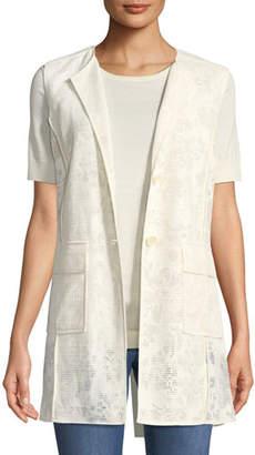 St. John Netted Burnout Two-Button Vest