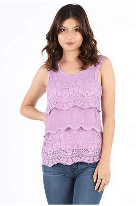 Asstd National Brand Tiered Crochet Lace Blouse