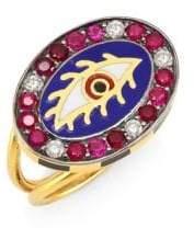 Americana Holly Dyment Eye 18K Gold, Tourmaline& Diamond Ring