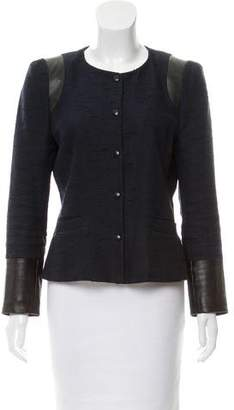Claudie Pierlot Leather-Accented Tweed Jacket