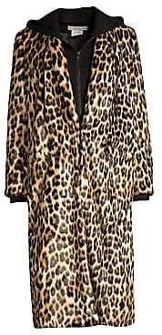 Alice + Olivia Women's Kylie Layered Hoodie Leopard Coat