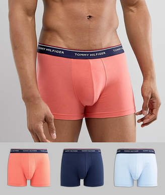 Tommy Hilfiger 3 Pack Trunks Navy Waistbands In Navy/Blue/Pink