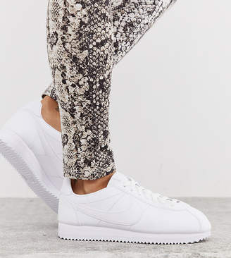 Nike Cortez leather sneakers in triple white