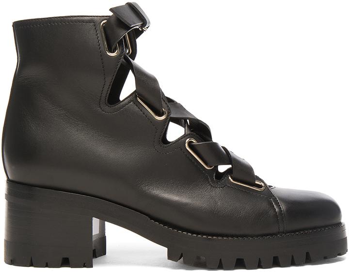 Valentino Cross Strap Leather Combat Boots