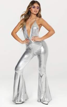 PrettyLittleThing Silver Metallic Plunge Jumpsuit