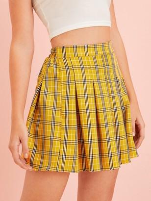 Shein Checked Elastic Waist Pleated Skirt