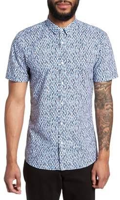 HUGO Empson Trim Fit Print Short Sleeve Sport Shirt