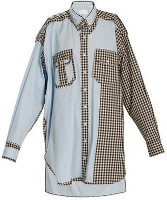 Maison Margiela Oversized Gingham Checked Trim Cotton Shirtdress - Womens - Black Multi