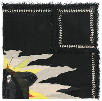 Zadig & Voltaire frayed edge patterned scarf