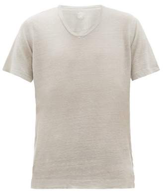 120% Lino V Neck Slubbed Linen Jersey T Shirt - Mens - Grey