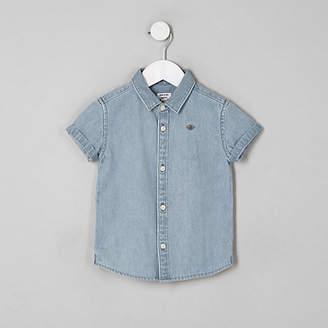 River Island Mini boys blue short sleeve denim shirt
