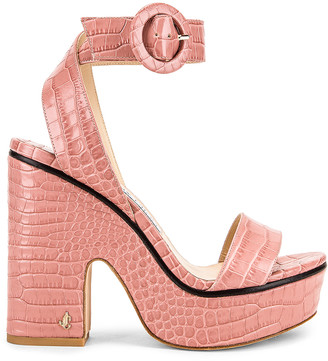 Jimmy Choo Aimee 125 Croc Embossed Sandal in Blush | FWRD