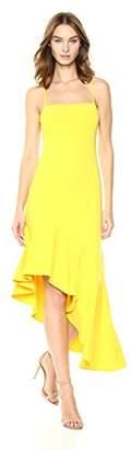 Susana Monaco Women's Dale Slit Ruffle Hem Spagetti Strap Dress
