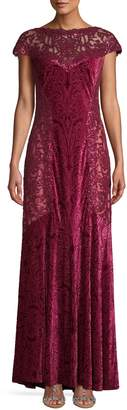 Tadashi Shoji Sequin Printed Velvet Column Gown
