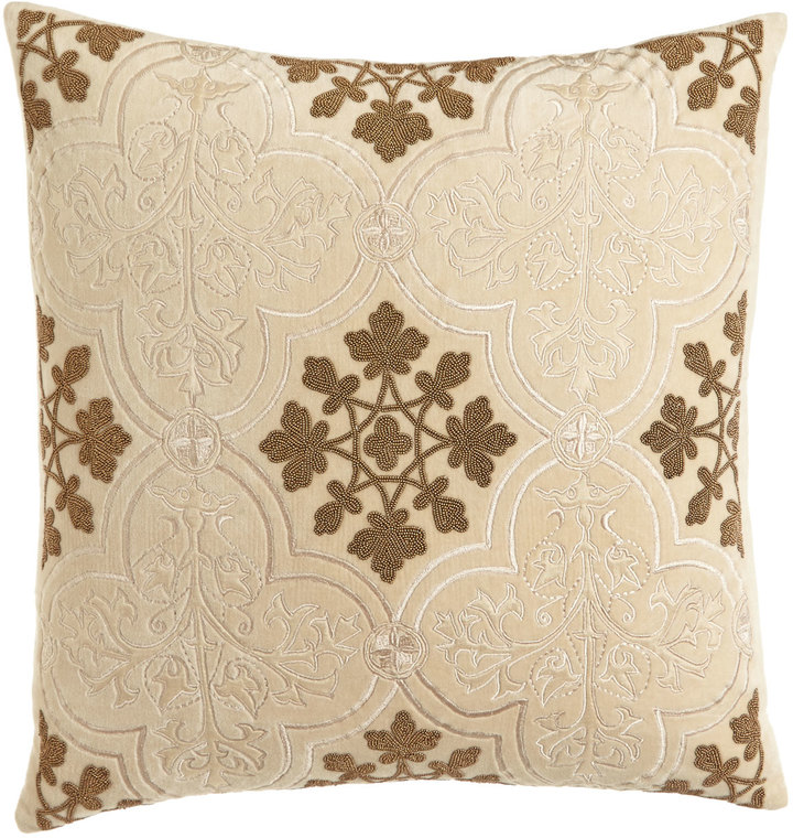 "Callisto Callisto Home Como Beaded Velvet Pillow, 22""Sq."