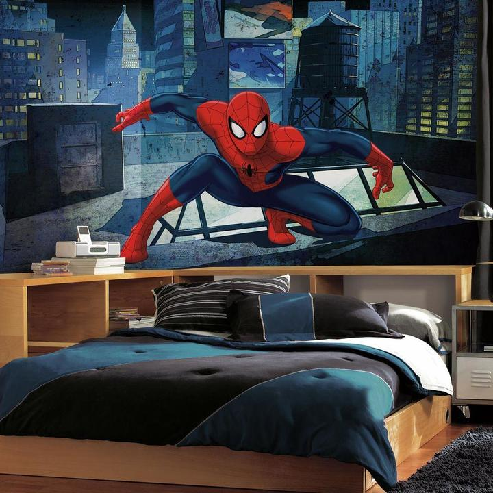 RoomMates 72 in. W x 126 in. H Ultimate Spiderman CityScape XL Chair Rail 7-Panel Prepasted Wall Mural