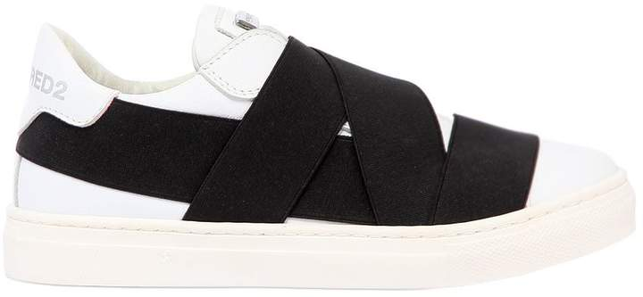 Elastic Bands & Leather Slip-On Sneakers
