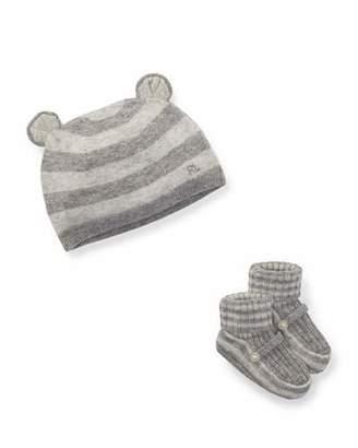 Ralph Lauren Bear Baby Hat w/ Rib-Knit Booties, Size Newborn-9M
