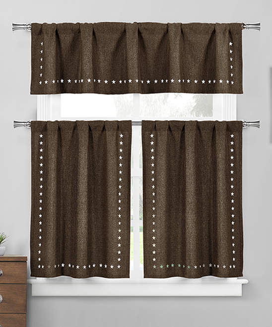 Brown Conor Valance & Curtain Panel Set
