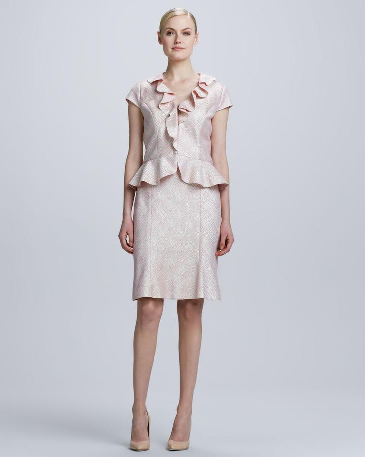 Kay Unger New York Ruffled Jacquard Plaid Skirt Suit