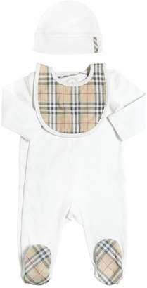 Burberry Cotton Jersey Romper Bib & Hat