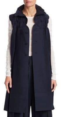 Issey Miyake Smocked Stretch Long Vest