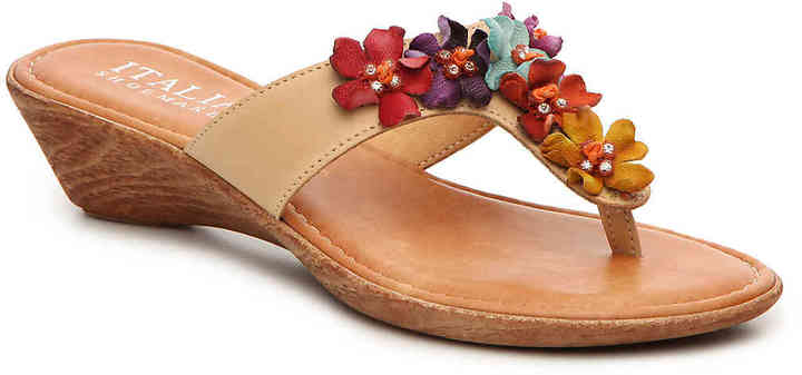 Women's Italian Shoemakers Giggle Wedge Sandal -White