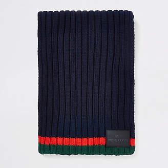 River Island Boys navy contrast stripe knit scarf
