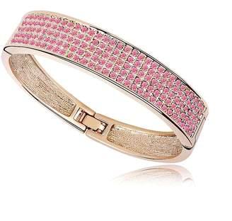 Swarovski Move&Moving Gold Elements Crystal Diamond Accent Love Forever Bracelet for women teenage girls, with a Gift Box, Ideal Gift for Birthdays / Christmas / Wedding-Rose Red, Model: X15519