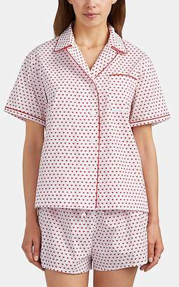 Sleepy Jones Women's Corita Heart-Print Cotton Pajama Shirt - White